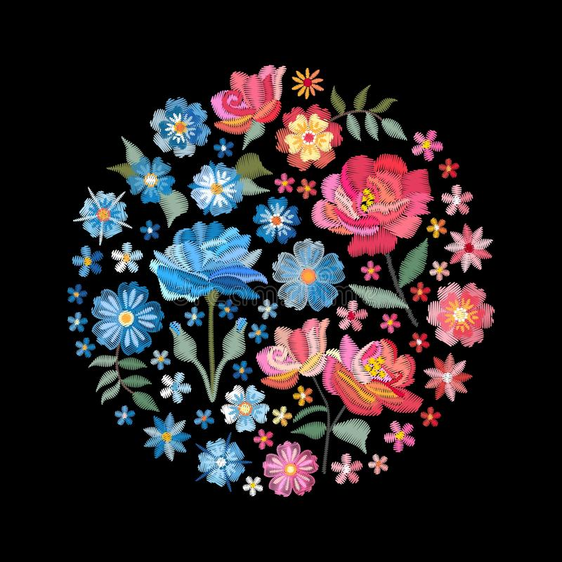 Embroidery floral round pattern with contrast flowers in pink and blue colors. Vector composition isolated on black background. For fashion design royalty free illustration