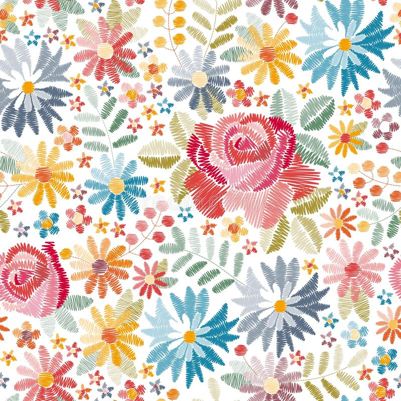 Embroidery floral seamless pattern with different beautiful flowers on white background. Colorful embroidered print. With roses, cornflowers and other stock illustration