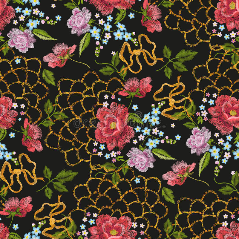 Embroidery floral seamless pattern with dog roses, forget-me-not flowers. vector illustration