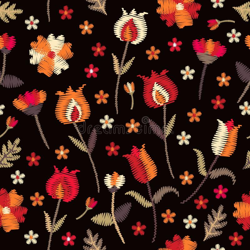 Embroidery floral seamless pattern with red and orange flowers on black background. Folk motifs. Fashion design. Vector embroidered illustration royalty free illustration