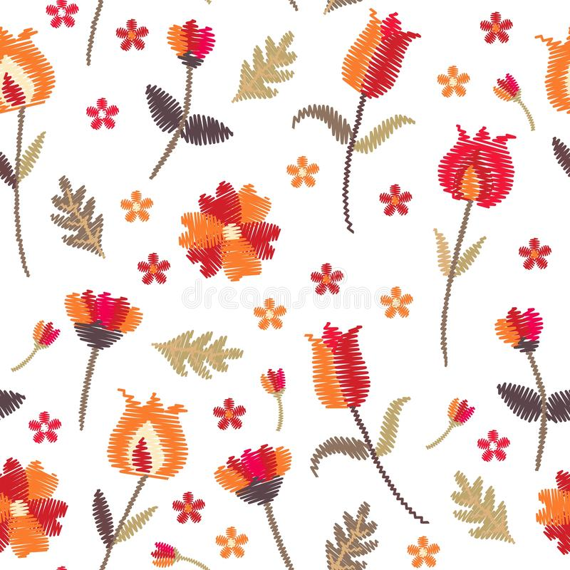 Embroidery floral seamless pattern with stylized flowers on white background. Beautiful print with folk motifs. Fashion design. royalty free illustration