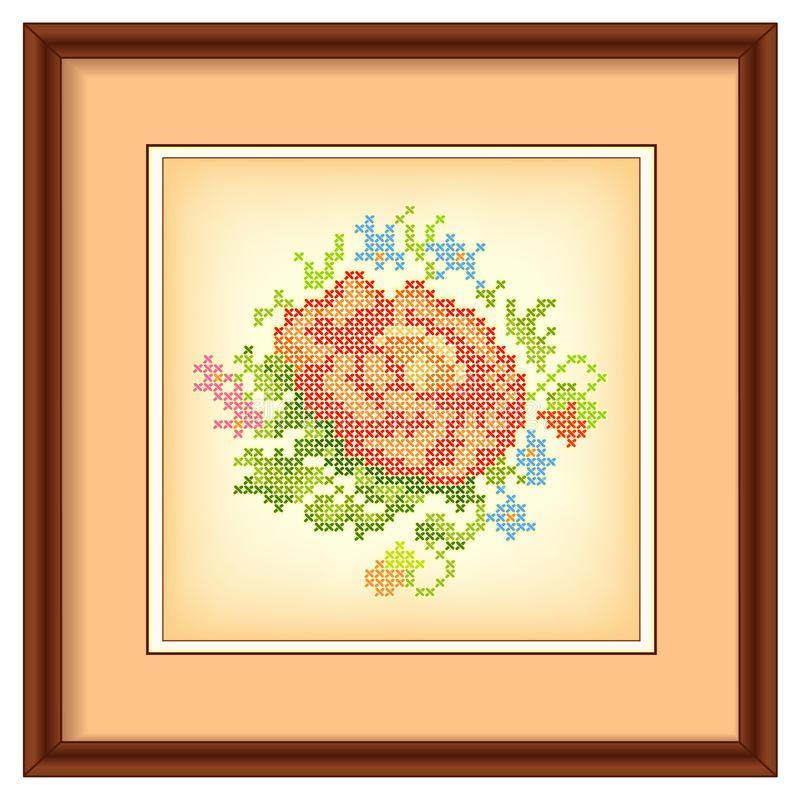 Embroidery, Flower Bouquet, Picture Frame, Mat Stock Vector