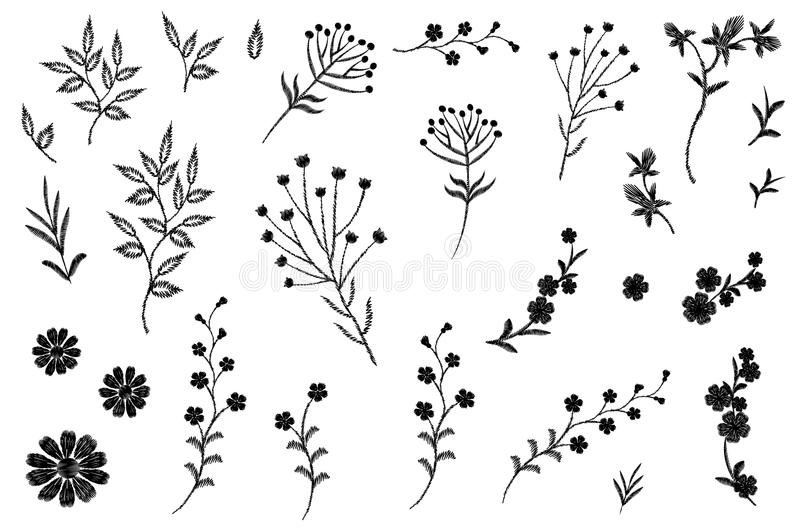 Embroidery flower field herb collection. Fashion print patch design floral DIY set. Stitched texture daisy leaves. Branches vector illustration art stock illustration