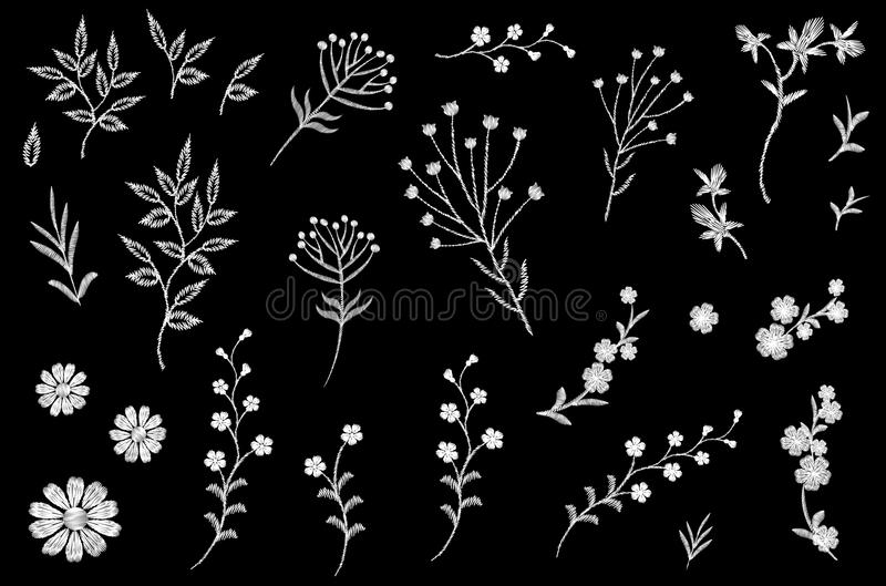 Embroidery flower field herb collection. Fashion print patch design floral DIY set. Stitched texture daisy leaves royalty free illustration