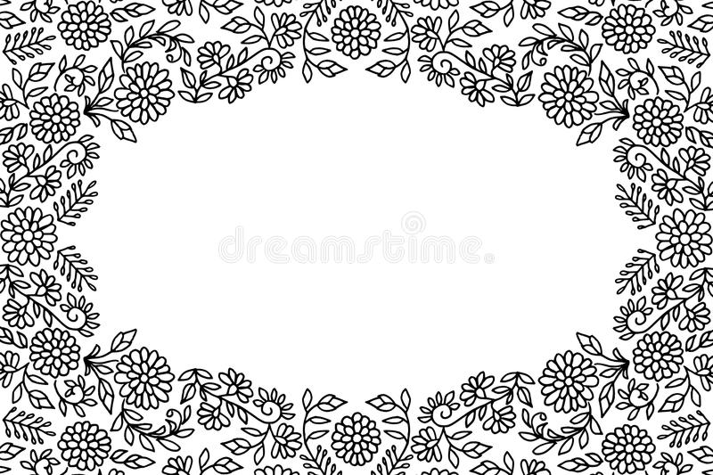 Embroidery Flower Frame Stock Vector Illustration Of Drawing 80972492