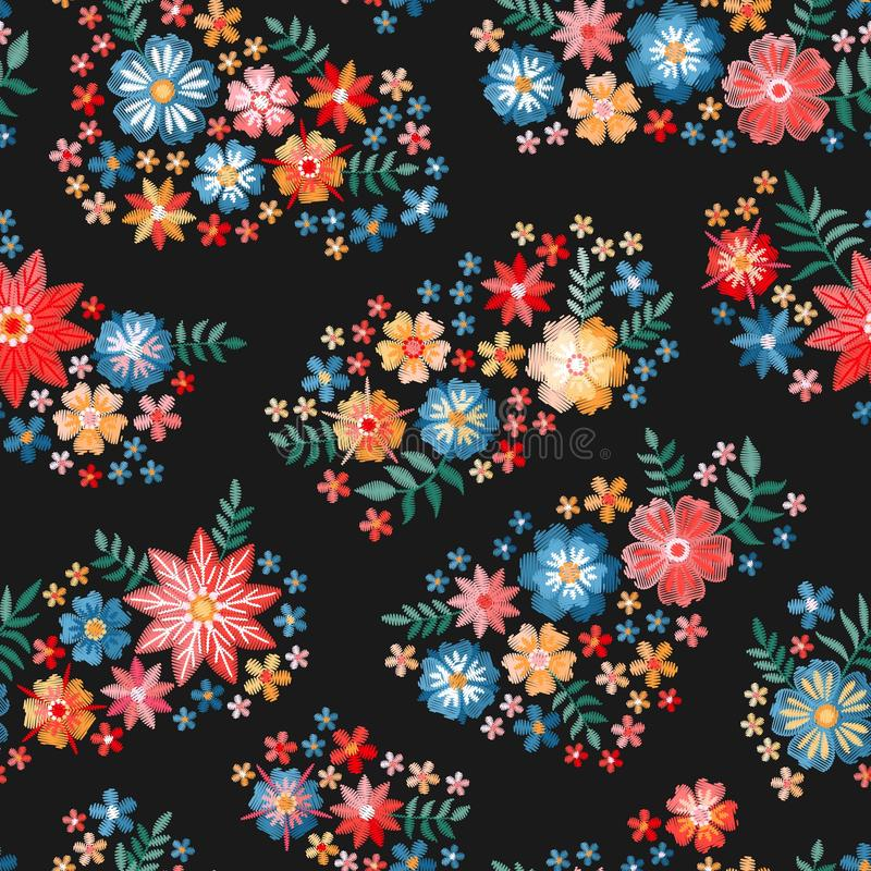 Embroidery flowers. Ditsy seamless pattern with bright embroidered bouquets on black background royalty free illustration