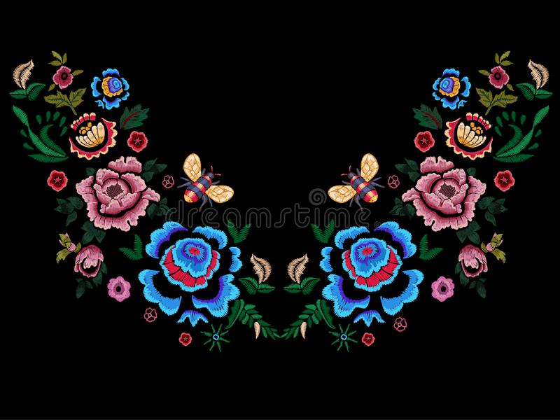 Embroidery folk neckline pattern with flowers and bee. vector illustration