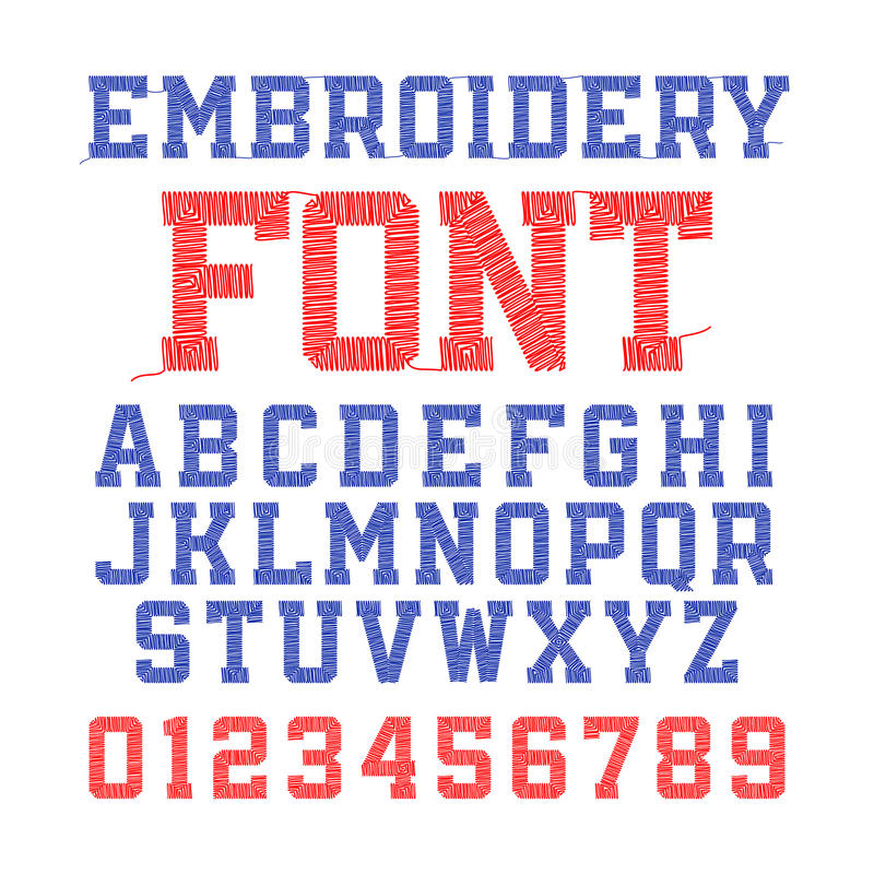 Embroidery font stock illustration