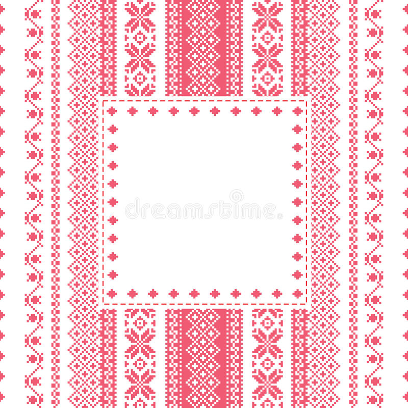 Embroidery frame in folk style vector illustration