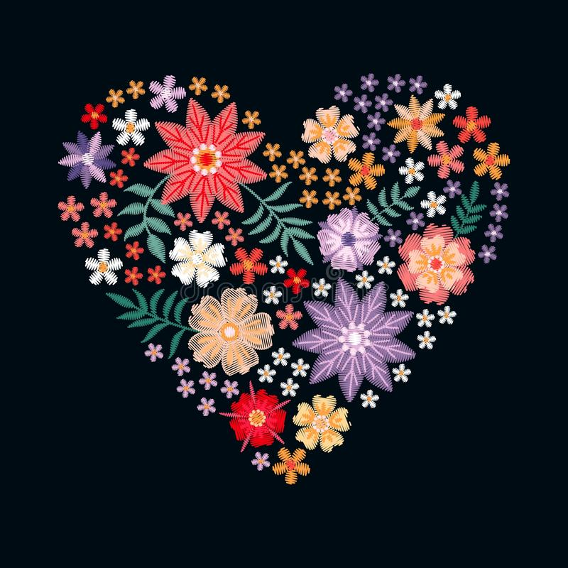Embroidery heart from flowers. Romantic template for wedding invitation or greeting card. vector illustration