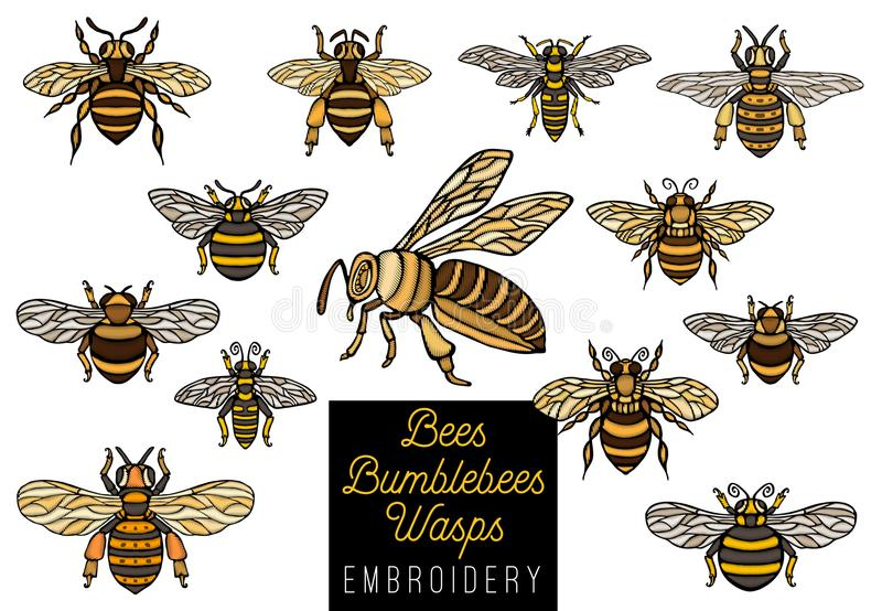 Embroidery Honey bee bumblebees wasps set sketch style collectio. N insert wings emblem symbols Hand drawn vector engraving illustration stock illustration