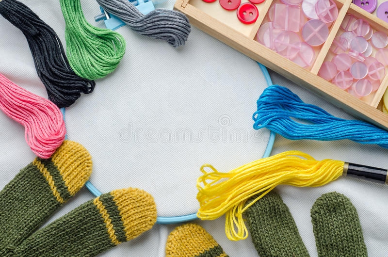 Download Embroidery Hoop With Blank Fabric, Colored Sewing Threads Stock Photo - Image: 83701570