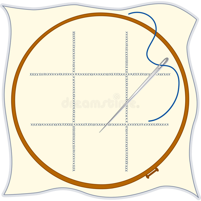 Embroidery hoop cross stitch needle threa stock vector