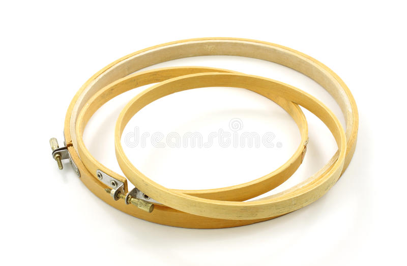 Embroidery hoops. A pair of embroidery hoops on a white background royalty free stock image