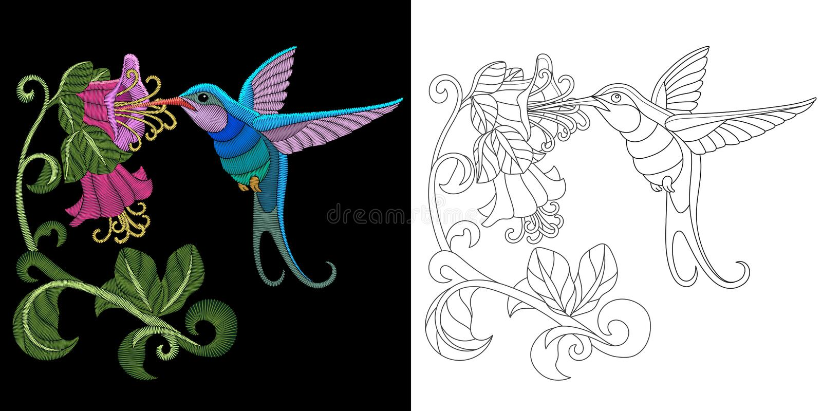 Embroidery hummingbird design stock photography