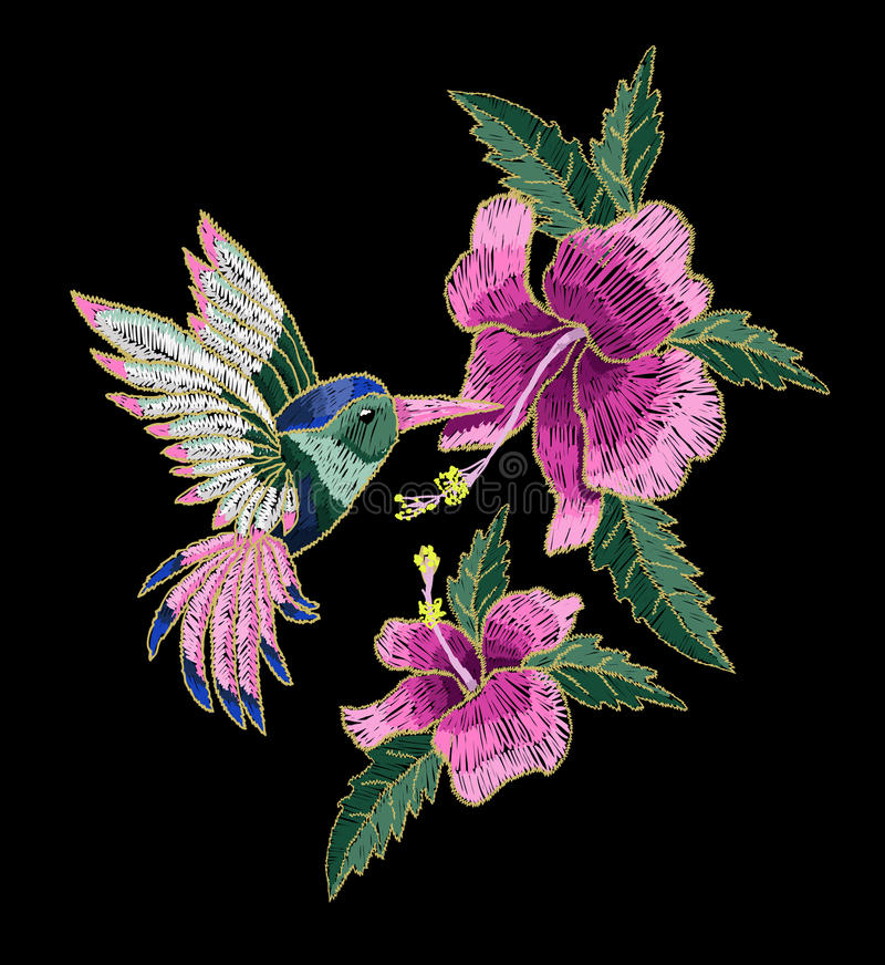 Embroidery hummingbird, hibiscus flowers, butterfly and ladybug. stock illustration
