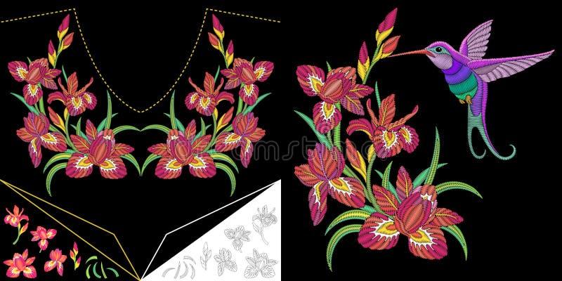 Embroidery hummingbird and iris flowers royalty free illustration