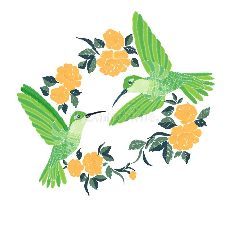 Embroidery with hummingbird and orchid flowers vector illustration. stock illustration