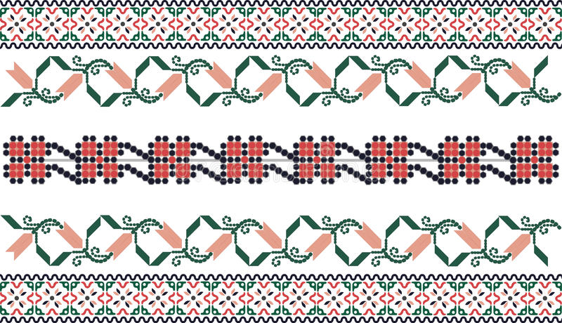 Embroidery inspired seamless pattern. Traditional embroidery motif - Balkanic countries culture stock illustration