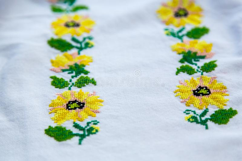 Embroidery. National clothes of Ukrainians. On the shirt for women or men embroidered cross-stitch ornament. stock images