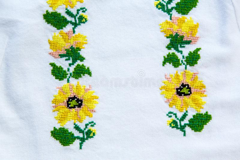 Embroidery. National clothes of Ukrainians. On the shirt for women or men embroidered cross-stitch ornament. royalty free stock image