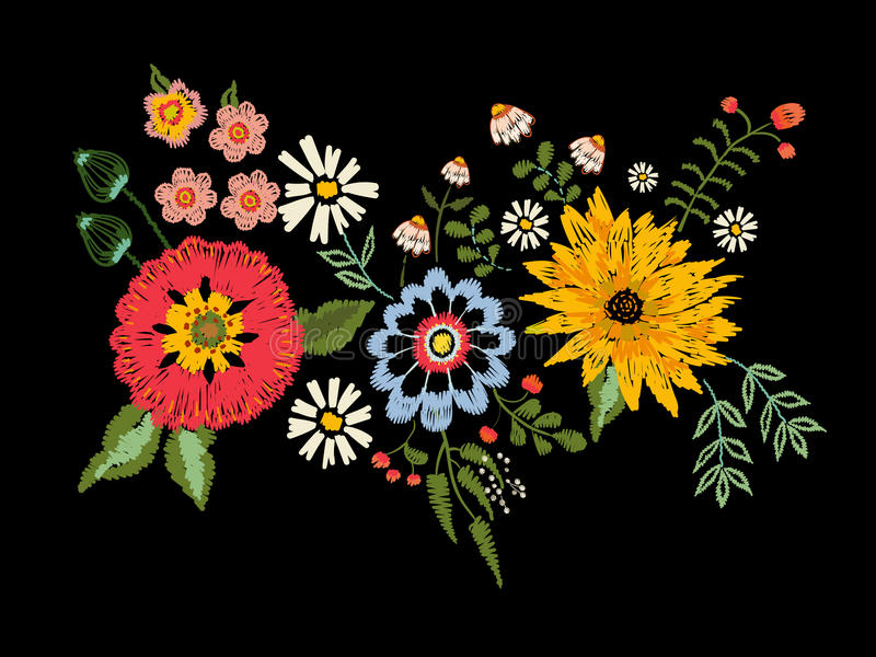 Embroidery native pattern with fantasy aster and poppy flowers. vector illustration