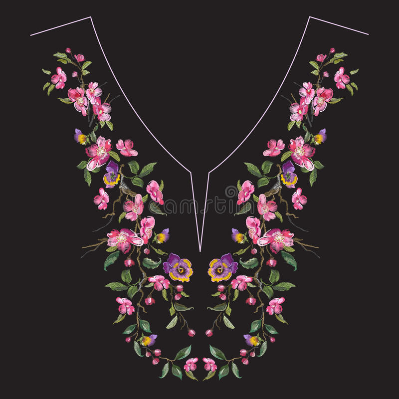 Embroidery neck line floral pattern with oriental cherry blossom stock illustration