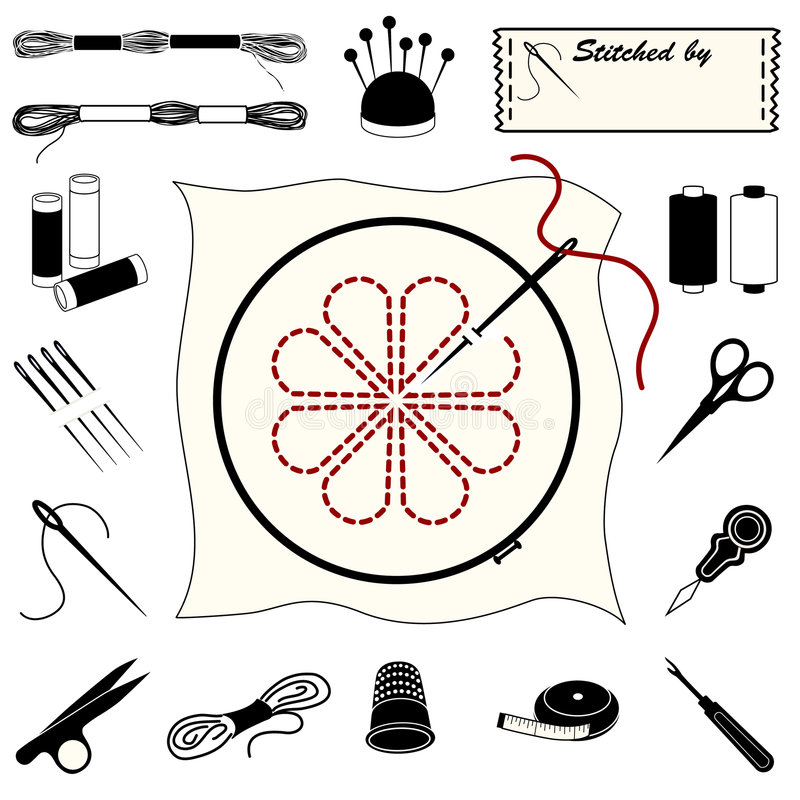 Embroidery and Needlework Icons. Collection of 20 tools and supplies for embroidery, needlework, applique, bargello, brocade, crewel, cross-stitch, needlepoint