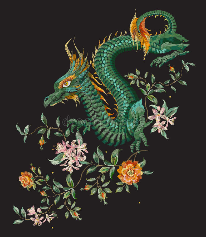 Embroidery oriental floral pattern with green dragon and gold ro royalty free illustration