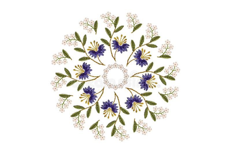 Embroidery oval floral ornament from wavy branches with purple cornflowers and white flowers on white background vector illustration