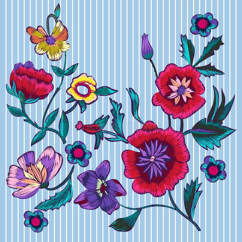 Embroidery patches with poppies and meadow flowers. Vector embroidered floral design vector illustration