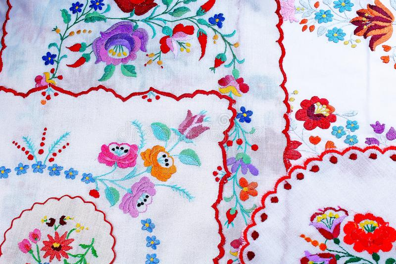 Embroidery. Patchwork handwork embroidery closeup texture pattern studio photo background. Hungarian royalty free stock photos