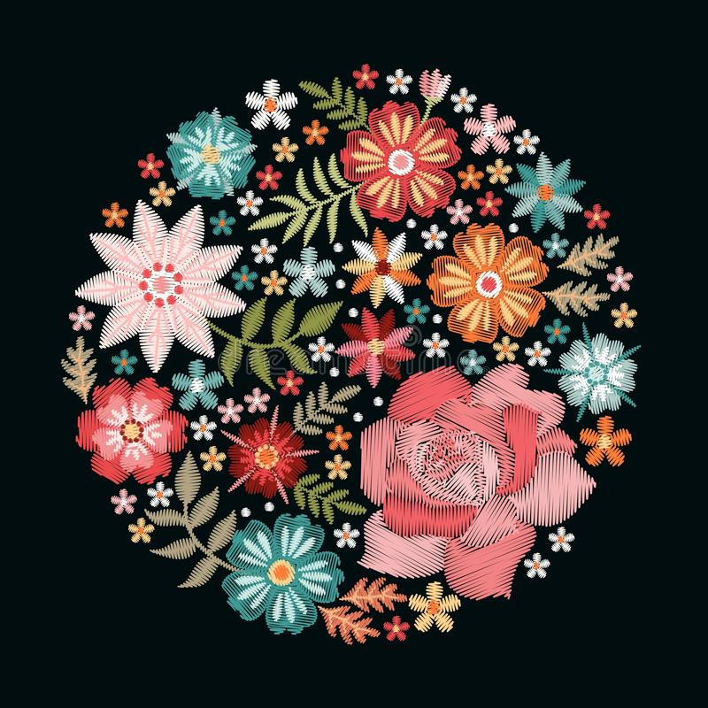 Embroidery pattern with beautiful flowers in the form of rosette. Colorful bouquet on black background. Floral vector illustration.  royalty free illustration