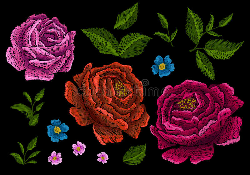 Embroidery peonies. Ethnic ornament for your design. royalty free illustration