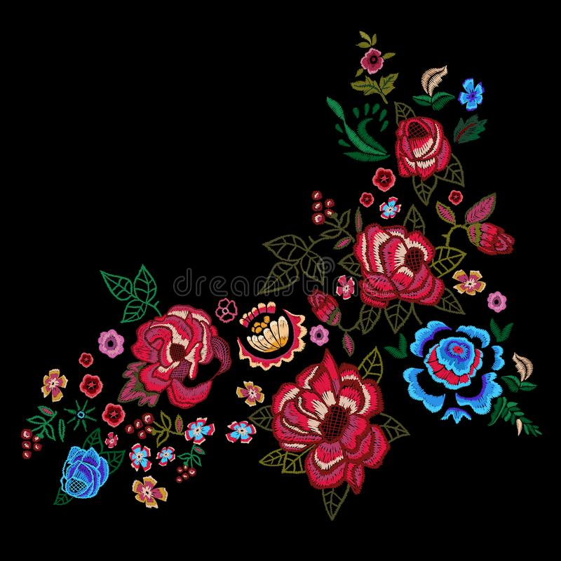 Embroidery red and blue roses, vector embroidered floral design. stock illustration