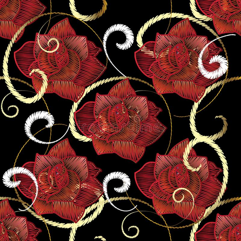 Embroidery red roses seamless pattern. Vector embroidered flower stock illustration