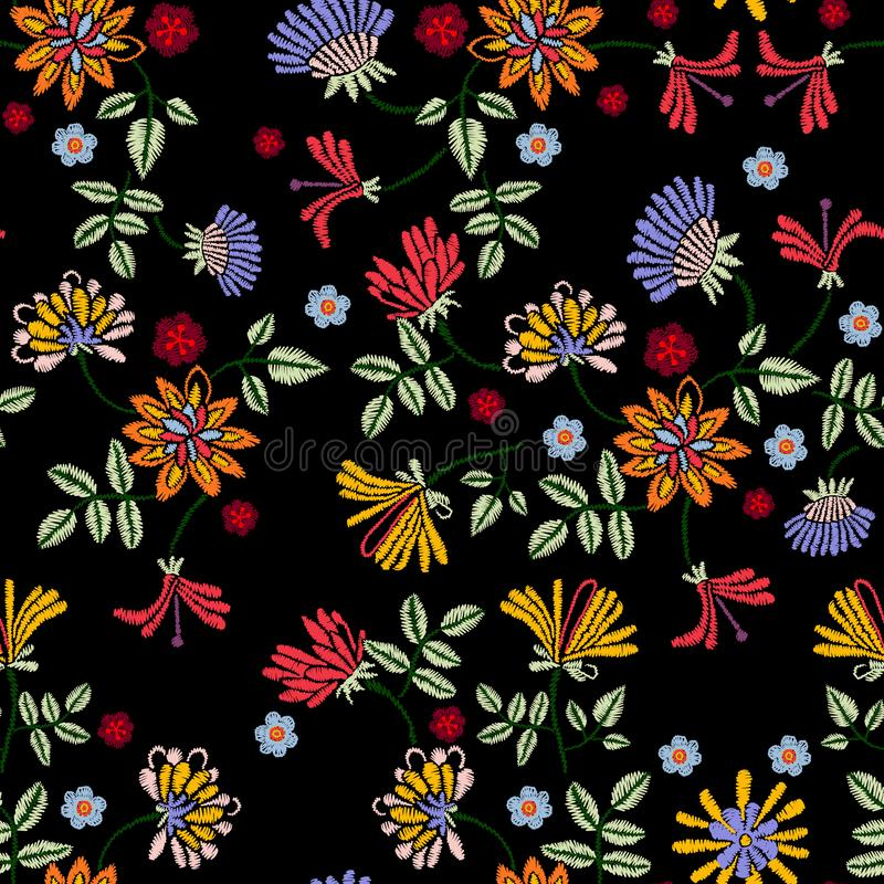 Embroidery repeat pattern with meadow flowers. royalty free illustration