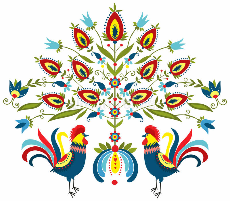 Embroidery roosters. Polish folk - traditional design with floral stock illustration
