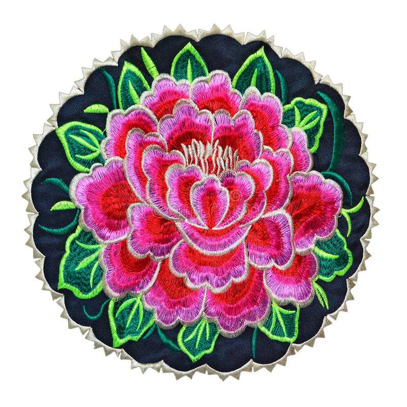 Embroidery rose badge cutout. Mexican floral embroidery patch isolated on white royalty free stock photos