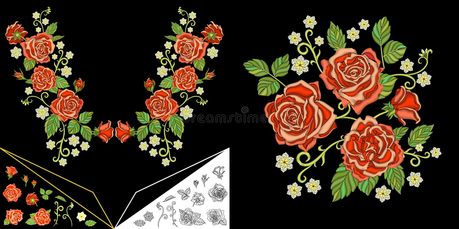 Embroidery roses and daisy flowers royalty free stock images