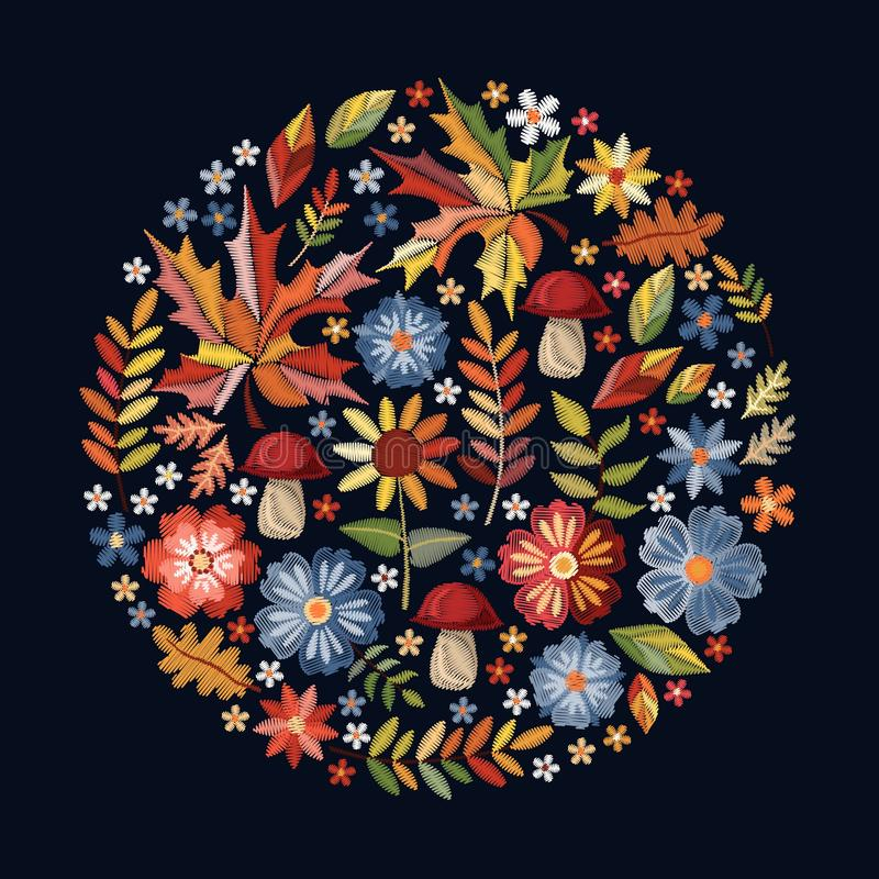 Embroidery. Round pattern with flowers, mushrooms and autumn leaves. Floral circle composition on black background. Vector print stock illustration