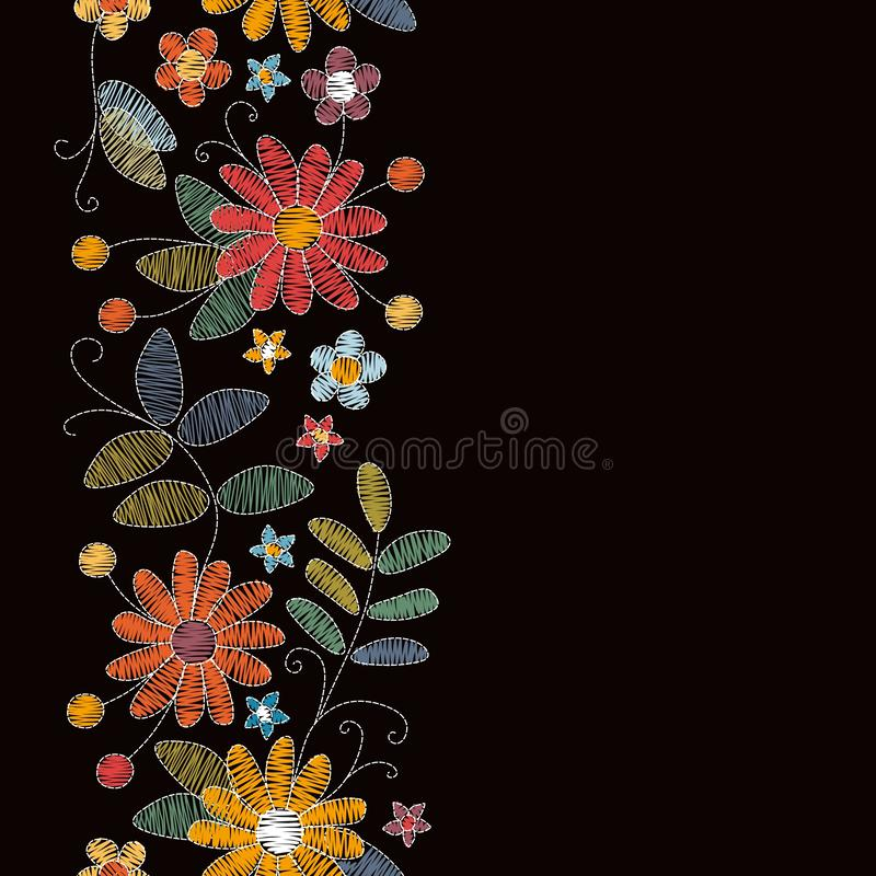 Embroidery seamless border with beautiful summer flowers. Design for greeting and invitation cards. Vector illustration stock illustration