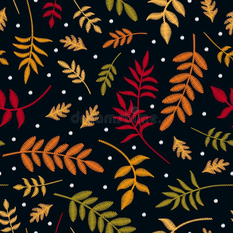Embroidery seamless pattern with autumn leaves in different colors and first snowflakes. Colorful embroidered plants in fall vector illustration