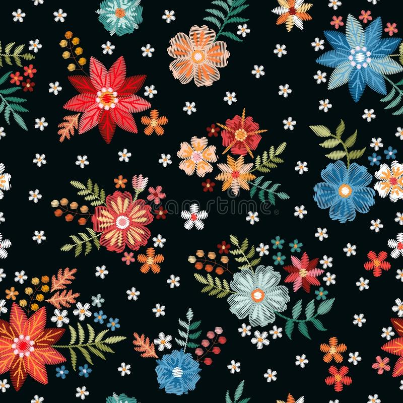 Embroidery seamless pattern with beautiful colorful flowers. Fashion print for fabric and textile. Embroidered design.  vector illustration