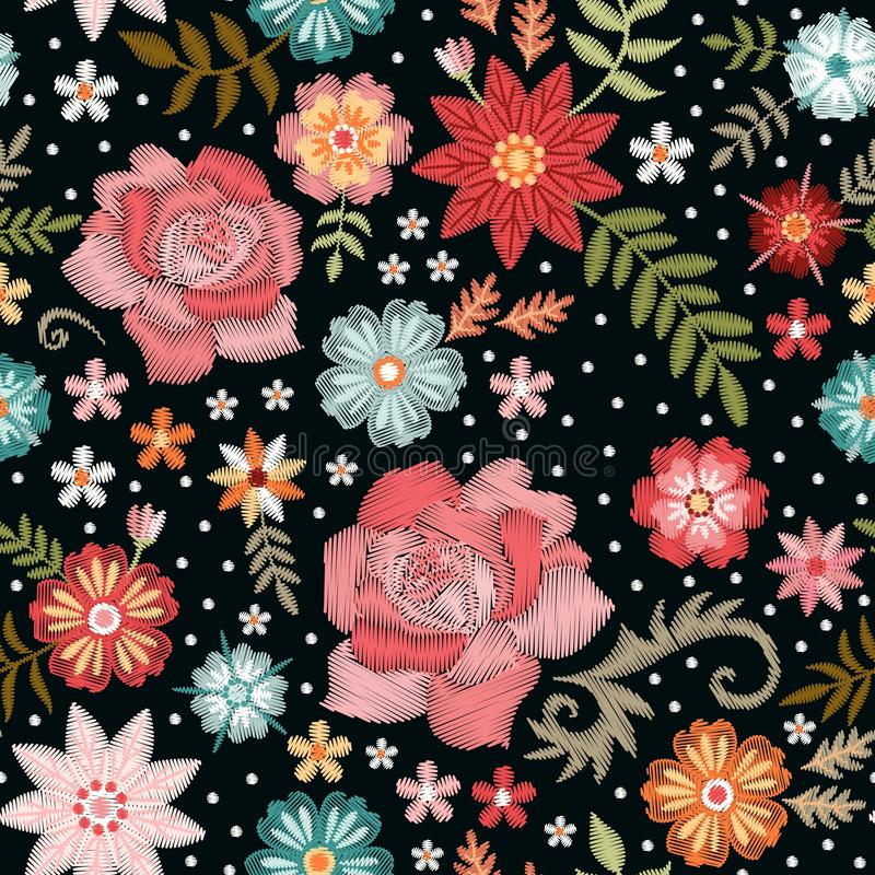 Embroidery seamless pattern with beautiful flowers. Fashion print for fabric and textile. Vector embroidered floral design.  stock illustration