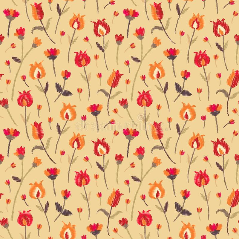 Embroidery seamless pattern with beautiful flowers in folk style. Vector floral ornament for fashion fabric royalty free illustration