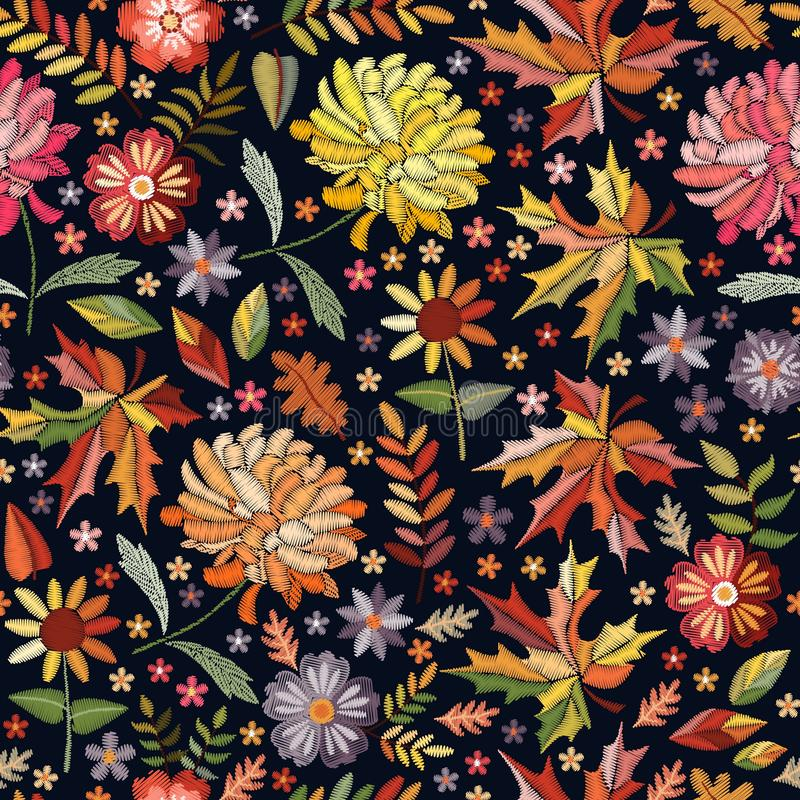 Embroidery seamless pattern with beautiful flowers and leaves. Autumn print. Fashion design. Colorful embroidered illustration.  stock illustration