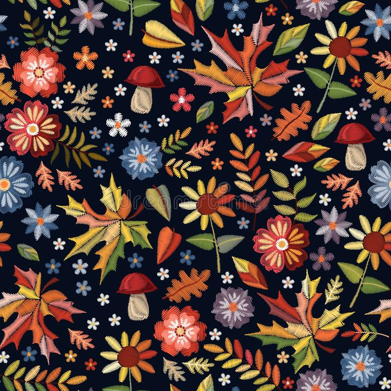 Embroidery seamless pattern with beautiful flowers, leaves and mushrooms. Bright colorful print. Fashion design. stock illustration