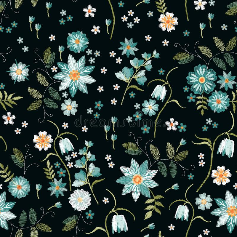 Embroidery seamless pattern with beautiful light blue wild flowers. Spring print. Fashion design.  royalty free illustration