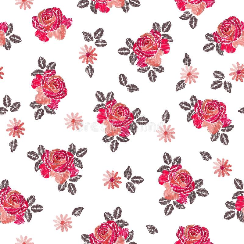 Embroidery seamless pattern with beautiful rose flowers on white background. stock illustration